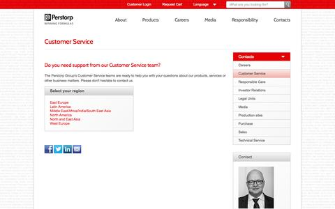 Screenshot of Support Page perstorp.com - Customer Service - Perstorp.com - All Contacts - captured Oct. 2, 2014