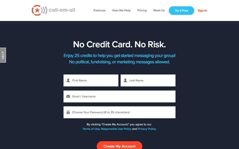 Screenshot of Trial Page call-em-all.com - Free Account | Call-Em-All - captured April 8, 2018