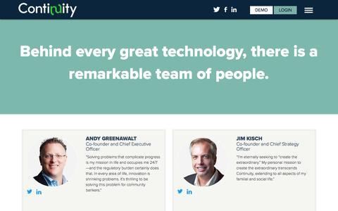 Screenshot of Team Page continuity.net - Management - captured June 6, 2016