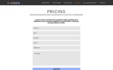 Screenshot of Pricing Page vidata.io - Pricing - captured Feb. 27, 2016