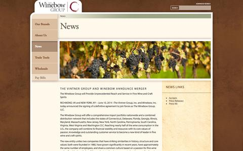 Screenshot of Press Page winebow.com - News - Winebow - captured Sept. 19, 2014