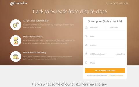 Screenshot of Landing Page freshsales.io - Online Lead Tracking Software - Automate, Prioritize and Nurture leads - captured Aug. 29, 2016