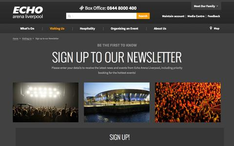 Screenshot of Support Page echoarena.com - Customer Service - Visiting Us | Echo Arena Liverpool - captured Oct. 1, 2014