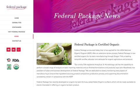 Screenshot of Press Page federalpackage.com - News - Federal Package - captured Aug. 3, 2016