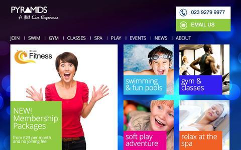 Screenshot of Home Page pyramids.co.uk - Pyramids Centre | Gym, Swim, Spa, Soft Play | Southsea | - captured Oct. 6, 2014
