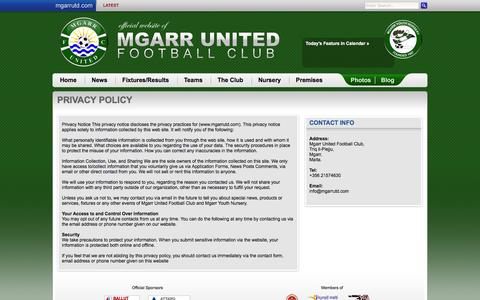 Screenshot of Privacy Page mgarrutd.com - Privacy Policy | Mgarr United Football Club - captured May 29, 2016