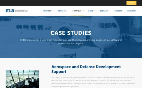 Screenshot of Case Studies Page exbsolutions.com - Case Studies - EXB Solutions - captured Nov. 13, 2019