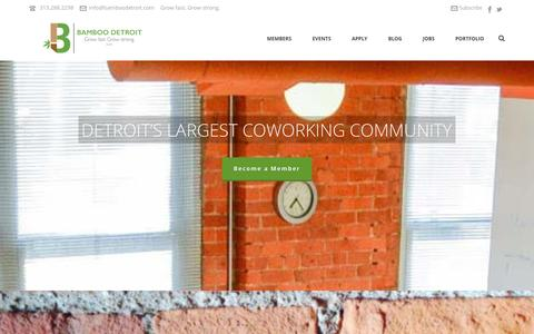 Screenshot of Home Page bamboodetroit.com - Bamboo Detroit : Coworking Space in Downtown Detroit - captured Dec. 29, 2015