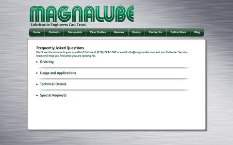 Screenshot of FAQ Page magnalube.com - magnalube   FAQ - captured Dec. 17, 2018