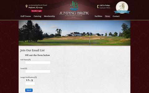 Screenshot of Signup Page jumpingbrookcc.com - Join Our Email List! | Jumping Brook Country Club - Neptune, NJ - captured Oct. 6, 2014