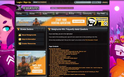Screenshot of FAQ Page newgrounds.com - Newgrounds Wiki - Frequently Asked Questions - captured June 28, 2018