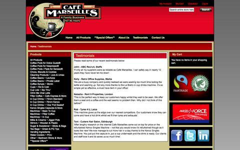 Screenshot of Testimonials Page hotdrinks.net - Testimonials from Café Marseilles - captured Oct. 1, 2014