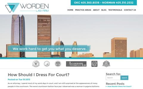 Screenshot of Blog wordenfirm.com - Oklahoma City Attorney : The Worden Law Firm - captured March 1, 2016