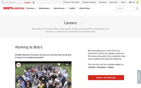 Screenshot of Jobs Page mybobs.com - Careers | Bobs.com - captured Feb. 7, 2019