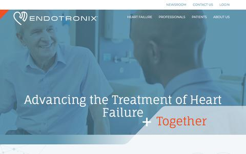 Screenshot of Home Page endotronix.com - Cordella System for Hemodynamic Monitoring - Endotronix - captured July 12, 2018