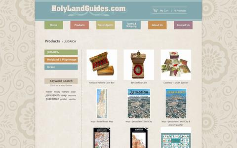 Screenshot of Products Page holylandguides.com - JUDAICA | Holy Land Guides - captured Oct. 26, 2014