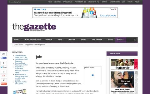 Screenshot of Signup Page westerngazette.ca - Join - The Gazette - captured Oct. 9, 2014