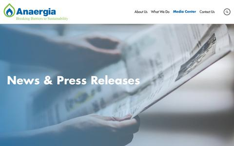 Screenshot of Press Page anaergia.com - News | Anaergia - captured Oct. 3, 2018