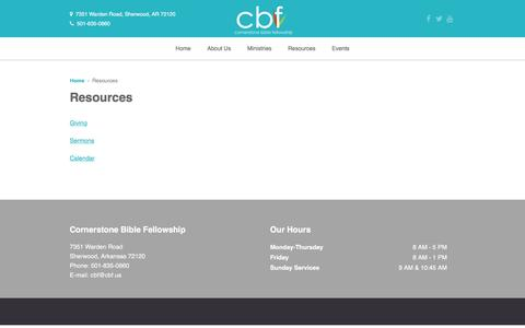 Screenshot of Press Page cbf.us - Resources - Cornerstone Bible FellowshipCornerstone Bible Fellowship - captured Jan. 31, 2016
