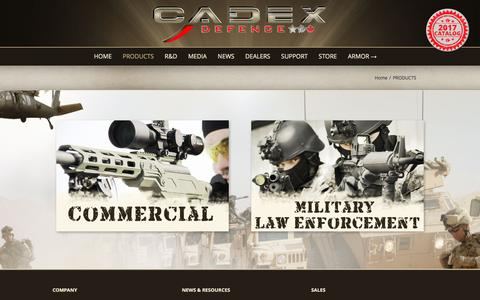 Screenshot of Products Page cadexdefence.com - PRODUCTS - Cadex Defence - captured May 13, 2017