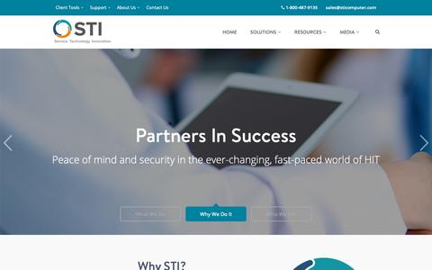Screenshot of Home Page sticomputer.com - STI - Health IT Solutions For Your Medical Practice - captured Oct. 1, 2018