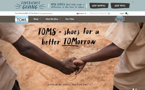 Screenshot of Home Page toms.com - The One for One Company | TOMS - captured Feb. 25, 2016