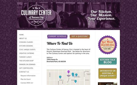Screenshot of Maps & Directions Page kcculinary.com - The Culinary Center of Kansas City - Directions - captured Nov. 28, 2016