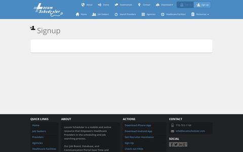 Screenshot of Signup Page locumscheduler.com - Locum Scheduler - Signup - captured July 16, 2016