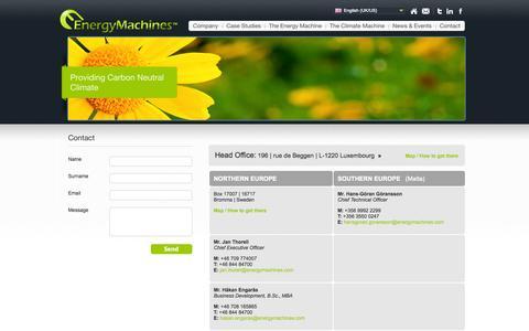 Screenshot of Contact Page energymachines.com - Contact - captured Sept. 30, 2014
