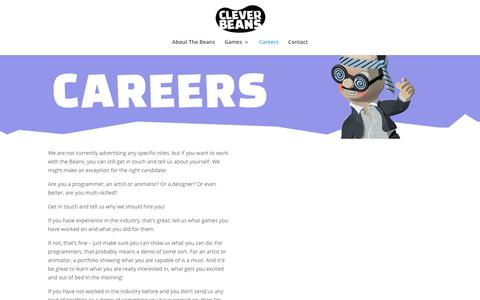Screenshot of Jobs Page cleverbeans.co.uk - Careers | Clever Beans Ltd - captured July 13, 2016