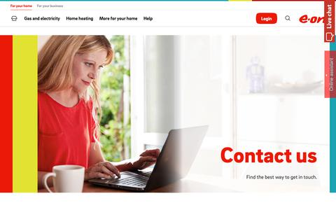 Screenshot of Contact Page eonenergy.com - Contact - captured March 25, 2019