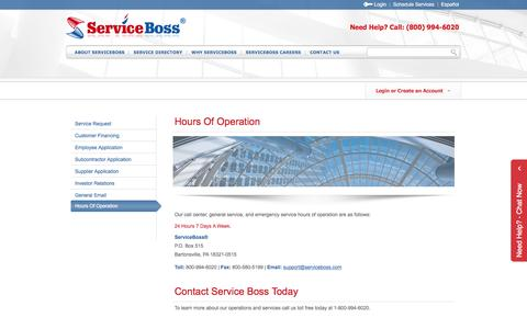 Screenshot of Hours Page serviceboss.com - Hours Of Operation - captured Feb. 17, 2016