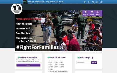 Screenshot of Home Page now.org - National Organization for Women | - captured Sept. 19, 2014