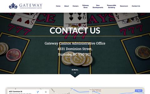 Screenshot of Contact Page gatewaycasinos.com - Contact Us | Gateway Casinos and Entertainment Limited - captured Jan. 26, 2016