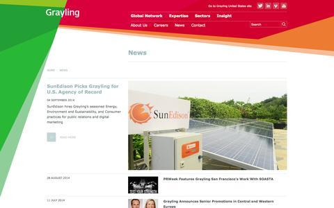 Screenshot of Press Page grayling.com - News - captured Sept. 23, 2014