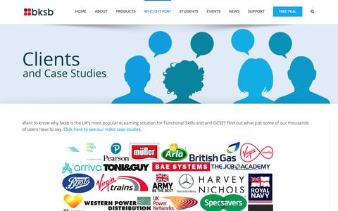 Screenshot of Case Studies Page bksb.co.uk - Clients | Case Studies | bksb - captured Sept. 25, 2018
