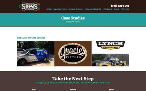 Screenshot of Case Studies Page lexsigns.com - Case Studies Archive | Lexington Signs - captured Oct. 4, 2017