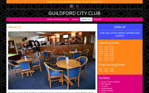 Screenshot of About Page guildfordcityclub.co.uk - About Us | Guildford City Social Club - captured Feb. 12, 2018
