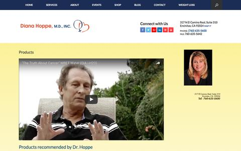 Screenshot of Products Page drdianahoppe.com - Products - DrDianaHoppe.com - captured Nov. 24, 2016