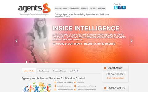 Screenshot of Home Page agents8.com - agents8 - Clients and Profits Consulting - Workamajig Consulting - captured Sept. 30, 2014