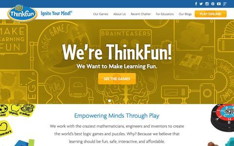 Screenshot of Home Page thinkfun.com - Home - Thinkfun - captured Feb. 1, 2016