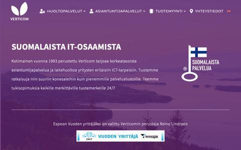 Screenshot of Home Page verticom.fi - Verticom - ICT asiantuntijapalveluja ja laitehuoltoa yrityksille - captured Oct. 18, 2018