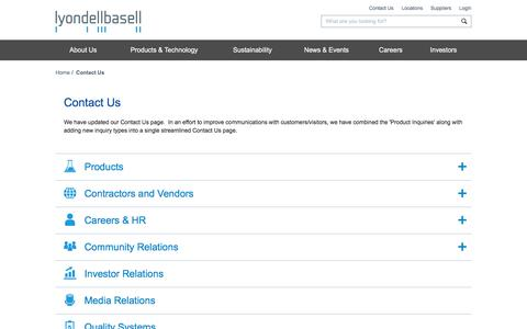 Screenshot of Contact Page lyondellbasell.com - Contact Us | LyondellBasell - captured July 23, 2019