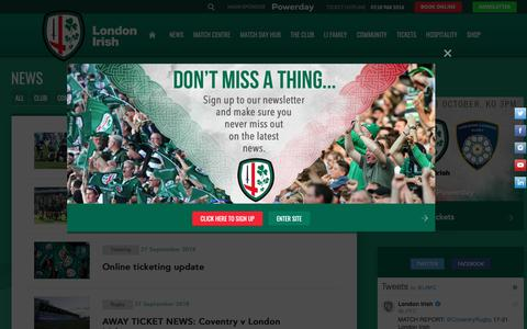 Screenshot of Press Page london-irish.com - News | London Irish - captured Sept. 30, 2018