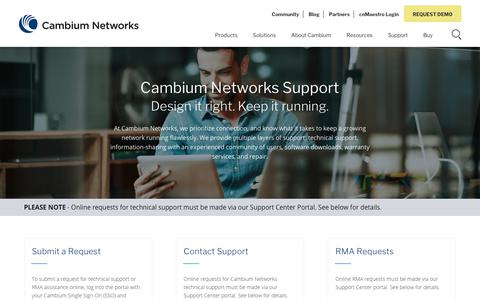 Screenshot of Support Page cambiumnetworks.com - Cambium Networks Support - Design it right | Cambium Networks - captured Aug. 18, 2019