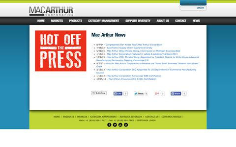 Screenshot of Press Page macarthurcorp.com - Hot Off The Press - The Latest News from Mac Arthur Corporation   Mac Arthur Corporation - captured Oct. 3, 2014