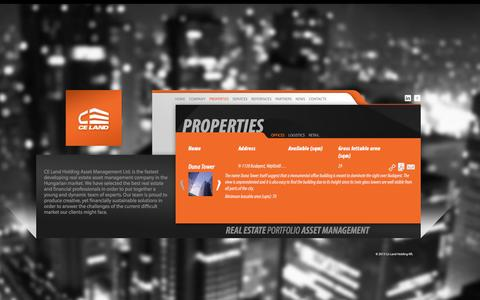 Screenshot of Home Page Services Page celand.hu - All Properties - captured Jan. 22, 2016