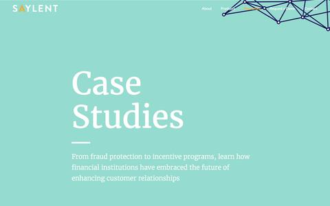 Screenshot of Case Studies Page saylent.com - Case Studies - Saylent | The Future of Personalized Banking - captured Nov. 5, 2017