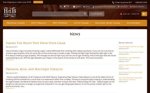 Screenshot of Press Page bnbtobacco.com - News | BnB Tobacco - captured April 10, 2018