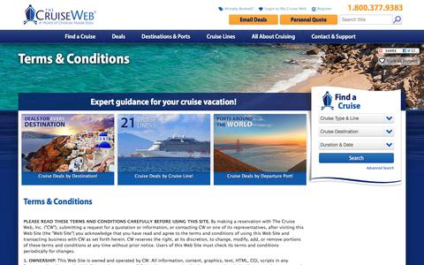 Screenshot of Terms Page cruiseweb.com - Terms and Conditions for The Cruise Web's Site | The Cruise Web - captured Oct. 14, 2017